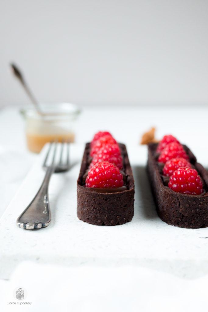 Himbeer-Schokoladen Tarte mit Karamell